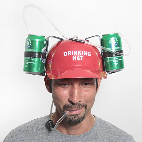 [RED Beer Cap - Drinking Head Gear - Soda Helmet] (Blue Drinking Hat)