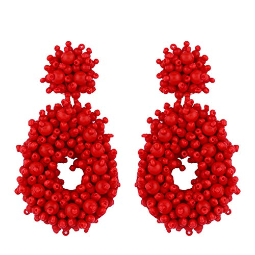 kuguwa Statement Beaded Hoop Earrings - Bohemian Beaded Round Dangle Earrings Gift for Women