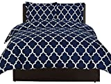 Printed Duvet-Cover-Set - Brushed Velvety Microfiber - Luxurious, Comfortable, Breathable, Soft & Extremely Durable - Wrinkle, Fade & Stain Resistant - Hotel Quality By Utopia Bedding (Queen,Navy)