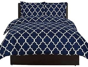 Utopia Bedding Queen Size Duvet Cover with 2 Pillow Shams, Navy Blue