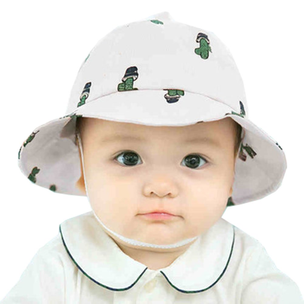 Newborn Baby Girls Cactus Sun Protection Bucket hat with Chin Strap (White 1ee3e957655