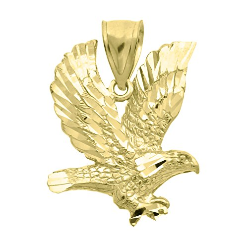 Jewels By Lux 10kt Gold DC Unisex Eagle Ht:30.8mm x W:23.6mm Animal Charm Pendant.