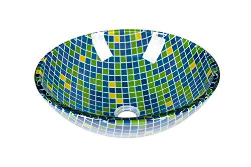 Jano Mosaic Tile Design Tempered Glass Circular Vessel Bathroom Sink with Pop Up Drain