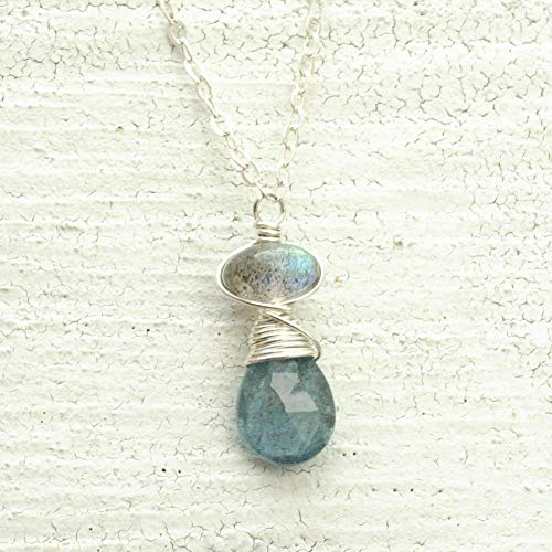 Moss aquamarine necklace labradorite sterling silver 17 in length March birthstone Kahili Creations ()