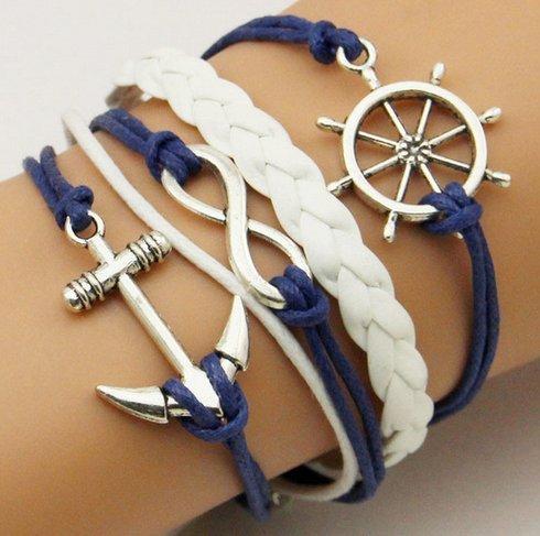 AJOYCN Rudder Ship Anchor Infinite Layer Braceletc Más Pulsera Náutica de Moda