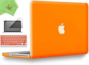 UESWILL 3in1 Smooth Matte Hard Shell Case Cover Compatible with MacBook Pro 15 inch with CD-ROM (Non-Retina) (Model A1286) + Keyboard Cover and Screen Protector + Microfibre Cleaning Cloth, Orange