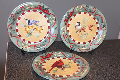 LENOX Winter Greetings Everyday ~ Set of 3~ DINNER Plates ~ (1 Chickadee 1 Cardinal 1 Nuthatch) ~ Red Ribbons & Holly, Birds ~