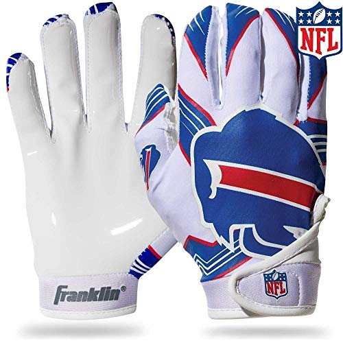 Franklin Sports Buffalo Bills Youth NFL Football Receiver Gloves - Receiver Gloves For Kids - NFL Team Logos and Silicone Palm - Youth M/L Pair