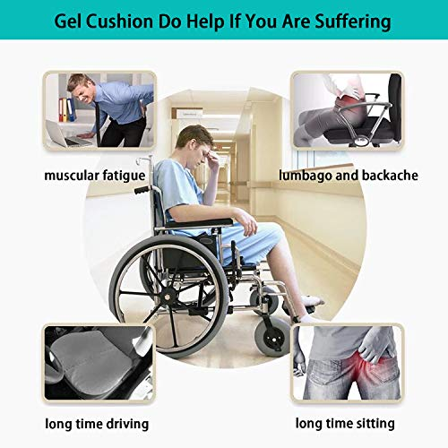 Turquoize Gel Seat Cushion Pain Relief Gel Pad Seat Cushion Honeycomb Design Pressure Absorbs Sitter Elastic Support Chair Pad Office, Dinner, Driving, Wheelchair & Mobility Scooter Cushions by Turquoize (Image #1)