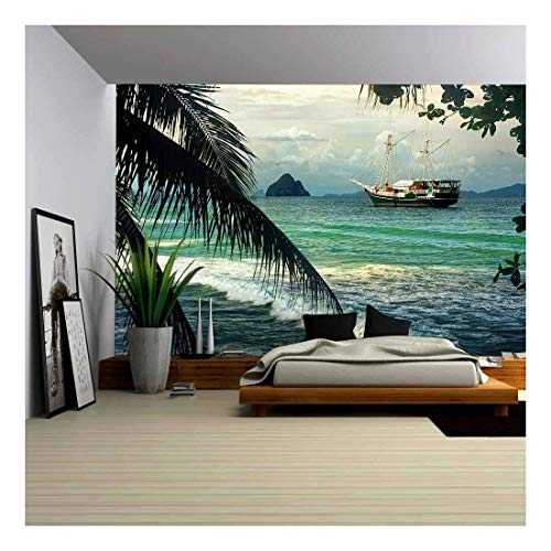 wall26 - Beautiful Seascape with Sailing on The Sea of Old Ships Against Cloudy Sky and Islands - Removable Wall Mural | Self-Adhesive Large Wallpaper - 66x96 inches