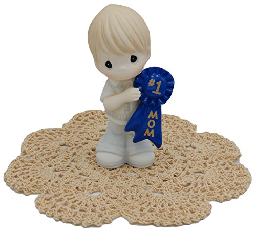 Precious Moments Loving Family collectible figurines with Westbraid Doily (#1 Mom [Boy]) (Boys Plush Bear Angel Blanket)