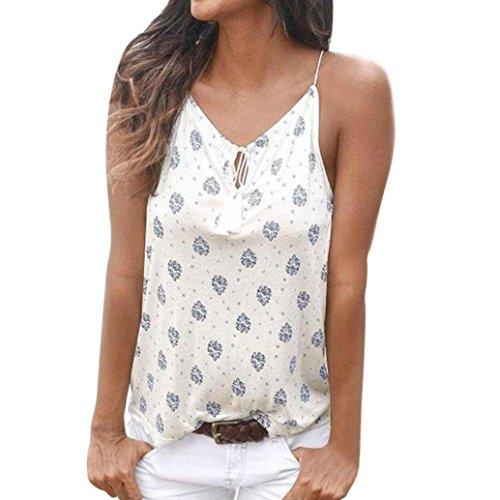 XUANOU Women Summer Dots Printed Sleeveless Vest Shirt Tank Tops Blouse T-shirt (Medium, White)