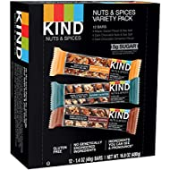 KIND Bars, Nuts and Spices Variety Pack, Gluten Free, Low Sugar, 1.4 Ounce Bars, 12 Count