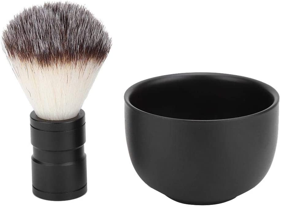 Cepillo de barba, tazón de jabón de afeitar de acero inoxidable para hombres Cepillo de pelo suave Kits de herramientas de limpieza de barba Herramienta de aseo para el cuidado de la barba(Negro)