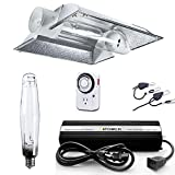 iPower GLSETX1000DHCT6XL 1000 Watt HPS Digital Dimmable System Cool Tube Reflector Set XL Wing Grow Light Kits, 1000W, White