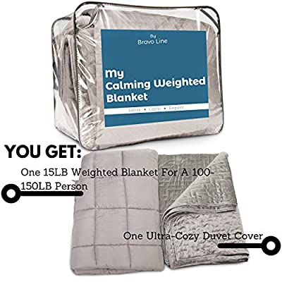 "[Adult Sensory Heavy Weighted Gravity Blanket] 60x80"", 15 lbs. FREE Washable Microfiber Duvet Cover :: Distributes Calming Pressure to Promote Better Sleep for People with Insomnia, Anxiety, or Stress"