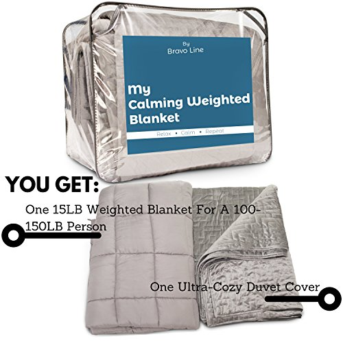 [Adult Sensory Heavy Weighted Gravity Blanket] 60x80'', 15 lbs. FREE Washable Microfiber Duvet Cover :: Distributes Calming Pressure to Promote Better Sleep for People with Insomnia, Anxiety, or Stress by Bravo Line