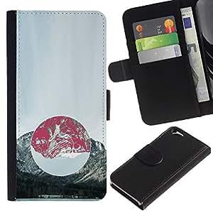 """A-type (Composición de la montaña"""") Colorida Impresión Funda Cuero Monedero Caja Bolsa Cubierta Caja Piel Card Slots Para Apple (4.7 inches!!!) iPhone 6 / 6S"""