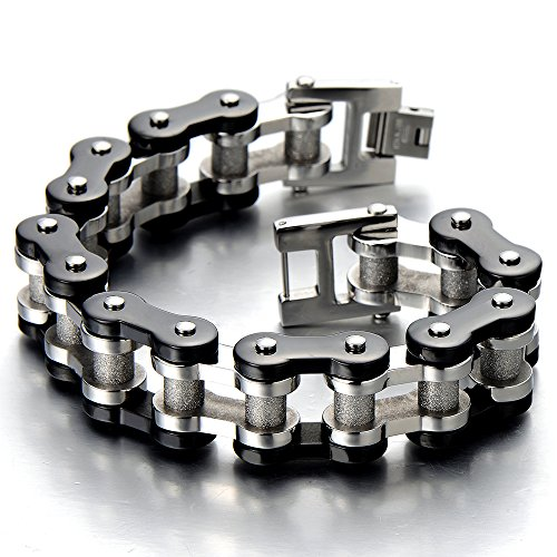 COOLSTEELANDBEYOND Masculine Mens Bike Chain Bracelet of Stainless Steel Silver Black Two-Tone Polished and Satin