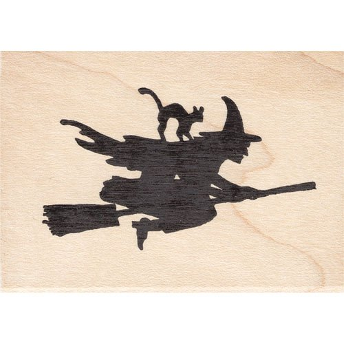 Flying Witch With Black Cat Rubber Stamp Halloween