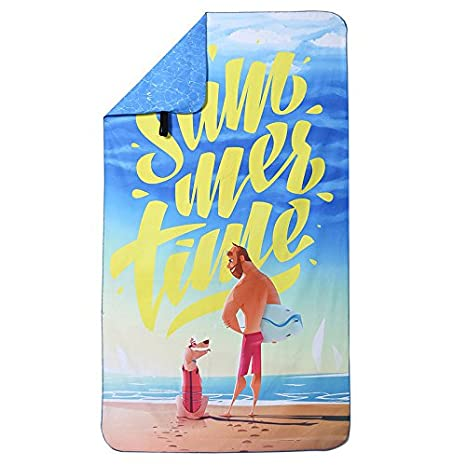 Mangeoo Toalla de playa de secado rápido, absorción de agua, toalla seca, adulto