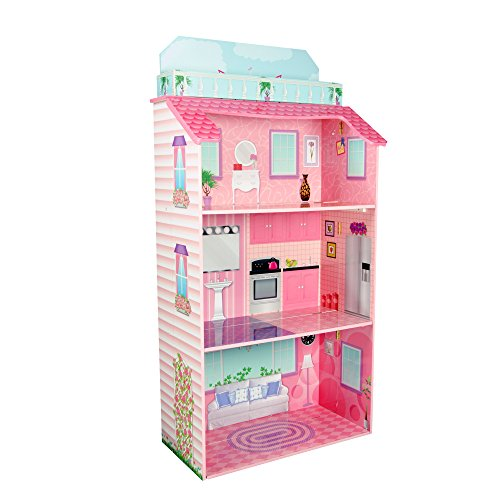 Teamson Kids - Foldable Wooden Doll House with 8 pcs Furniture for 12 inch Dolls by Teamson Kids