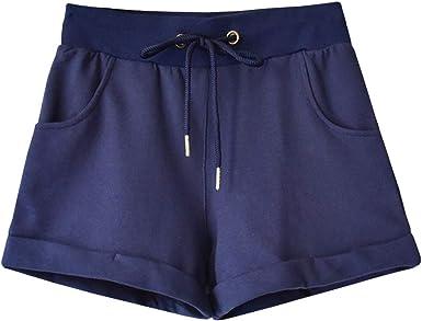 SXSHUN Mujer Pantalones Cortos para Vacaciones Shorts de Algodón ...
