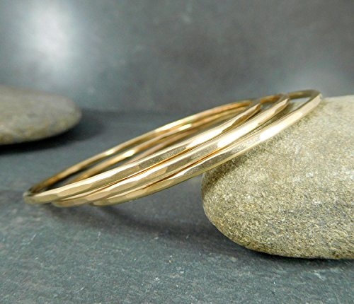 Set of 3 Gold-Filled Bangle Bracelets With Hammered Texture 2mm Wide by Glass River Jewelry
