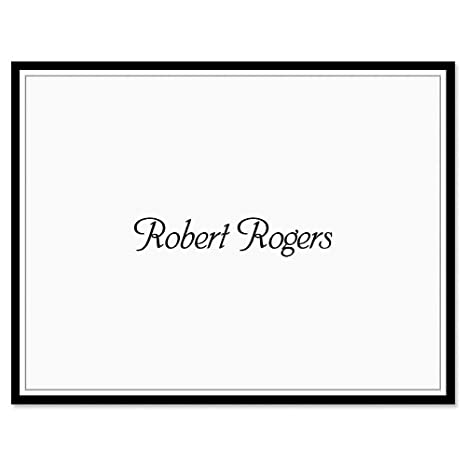 Black Rule Personalized Note Card Set 24 Cards Envelopes