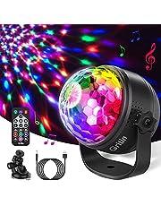 Discobal LED Party Lamp, Gritin discolicht kinderen muziekgestuurd disco lichteffecten met 15 kleuren RGBP, 360 graden draaibare partylamp, 4 m USB-kabel en afstandsbediening voor feestjes, Kerstmis en kinderen