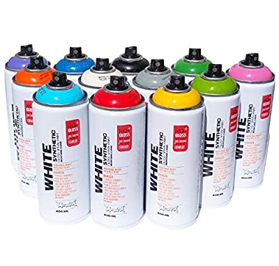Montana White Synthetic Spray Paint Kit - Set of 12 Artist Grade 400ml High Pressure Gloss Spray Paint Cans