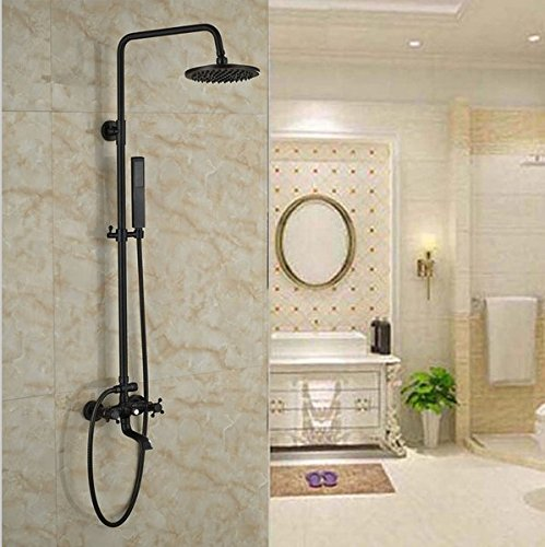 GOWE Oil Rubbed Bronze Bakth Tub Shower Faucet Wall Mounted Bathroom Rainfall Shower Set Exposed