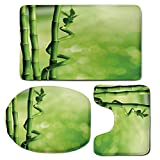 3 Piece Bath Mat Rug Set,Green,Bathroom Non-Slip Floor Mat,Bamboo-Stems-Nature-Ecology-Sunbeams-Soft-Spring-Scenic-Spa-Health-Relaxation-Decorative,Pedestal Rug + Lid Toilet Cover + Bath Mat,Green-Lig