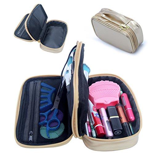 MONSTINA Cosmetics Bag,Double Layer Makeup Bag,Beauty Makeup Brush Bags Travel Multi-functional Kit Organizer For Women(Champagne Gold) by MONSTINA (Image #2)