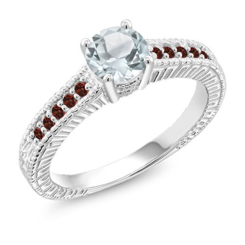 0.95 Ct Round Sky Blue Aquamarine Red Garnet 925 Sterling Silver Ring (Size 6) - Engagement Garnet Ring