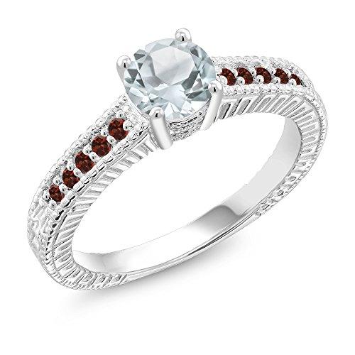 0.95 Ct Round Sky Blue Aquamarine Red Garnet 925 Sterling Silver Ring (Size 6) - Engagement Garnet Ring
