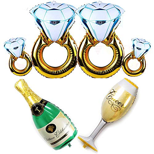 JETTINGBUY 6Pack Balloons Set - 4Pcs Diamond Ring