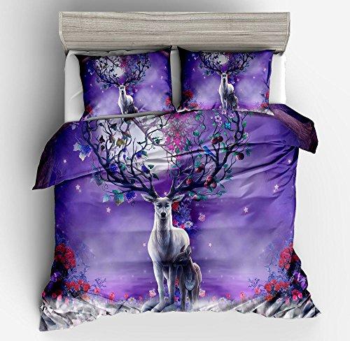 Cool Dream Colorful Deer Cotton Microfiber 3pc 104''x90'' Bedding Quilt Duvet Cover Sets 2 Pillow Cases King Size by DIY Duvetcover
