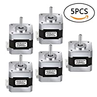 Nema 17 Stepper Motor, 5PCS Bipolar 1.7A 40Ncm(56.2oz.in) 40mm Body 4-lead W/ 40mm Cable and Connector for 3D Printer/CNC from TopDirect