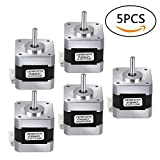 #10: Nema 17 Stepper Motor, 5PCS Bipolar 1.7A 40Ncm(56.2oz.in) 40mm Body 4-lead W/ 40mm Cable and Connector for 3D Printer/CNC