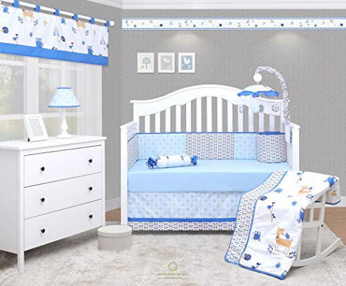 Enchanted Forest Crib Bedding - OptimaBaby Blue Enchanted Forest Animals 6Piece Unisex Baby Nursery Crib Bedding Set, Yellow/White/Light Blue/Blue