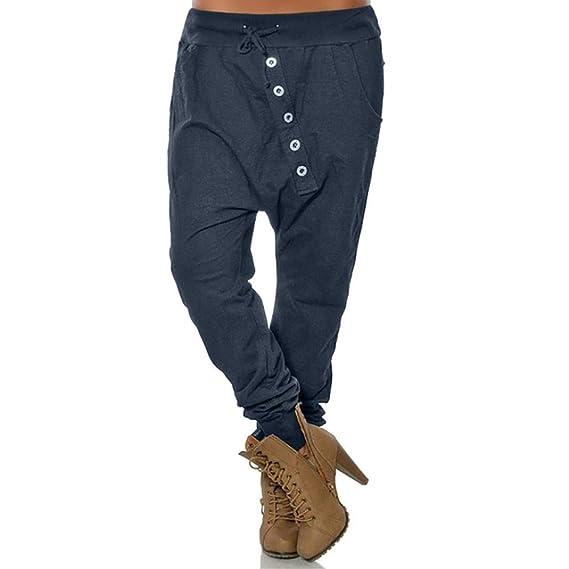 beautyjourney Pantalones de harén holgados de mujer Pantalones Bloom  Pantalones casuales de Hip Hop Pantalones harem de gran tamaño en color  liso Pantalones ... bc073f47039