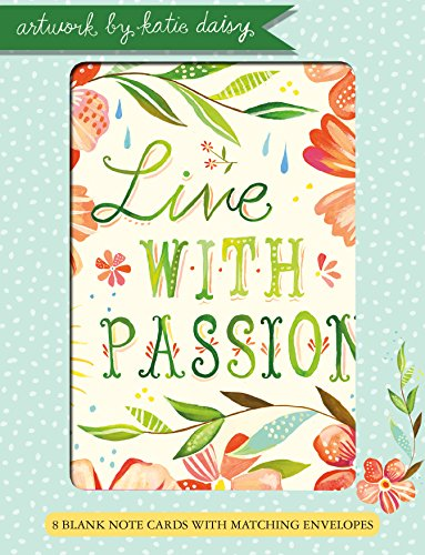Live with Passion Katie Daisy 4x5.5 Boxed Blank Notecards 4 Each of 2 Designs (NCS9233)