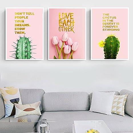 Amazon.com: Trend Pink Background Cactus, Tulip & Quote Canvas Print ...