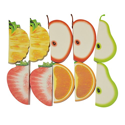 Kennedy Portable Cute 3D Fruit Shape Non-Sticky Note, Apple/Pear/Pineapple/Strawberry/ Orange, Colorful Notepads (10 pad/pack) by Kennedy