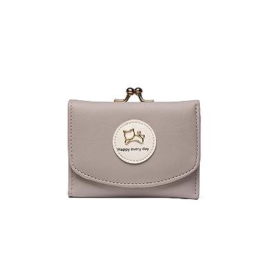 77f59817274f [Orange]【グレー】レディース ミニ財布 二つ折り がま口 かわいい レザー 女性用