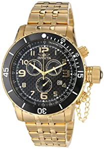 "Invicta Men's 16936 ""Specialty"" 18k Yellow Gold Ion-Plated Black Dial Bracelet Watch"