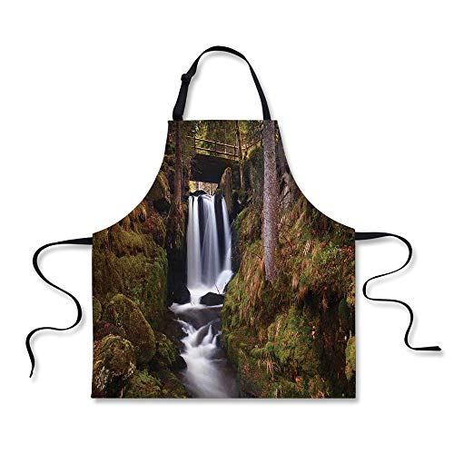 Cooking Apron,Waterfall,Magical Waterfall Under Old Wooden Bridge in Forest Exotic Nature Decor Decorative,Green Brown White,3D Print Apron.29.5