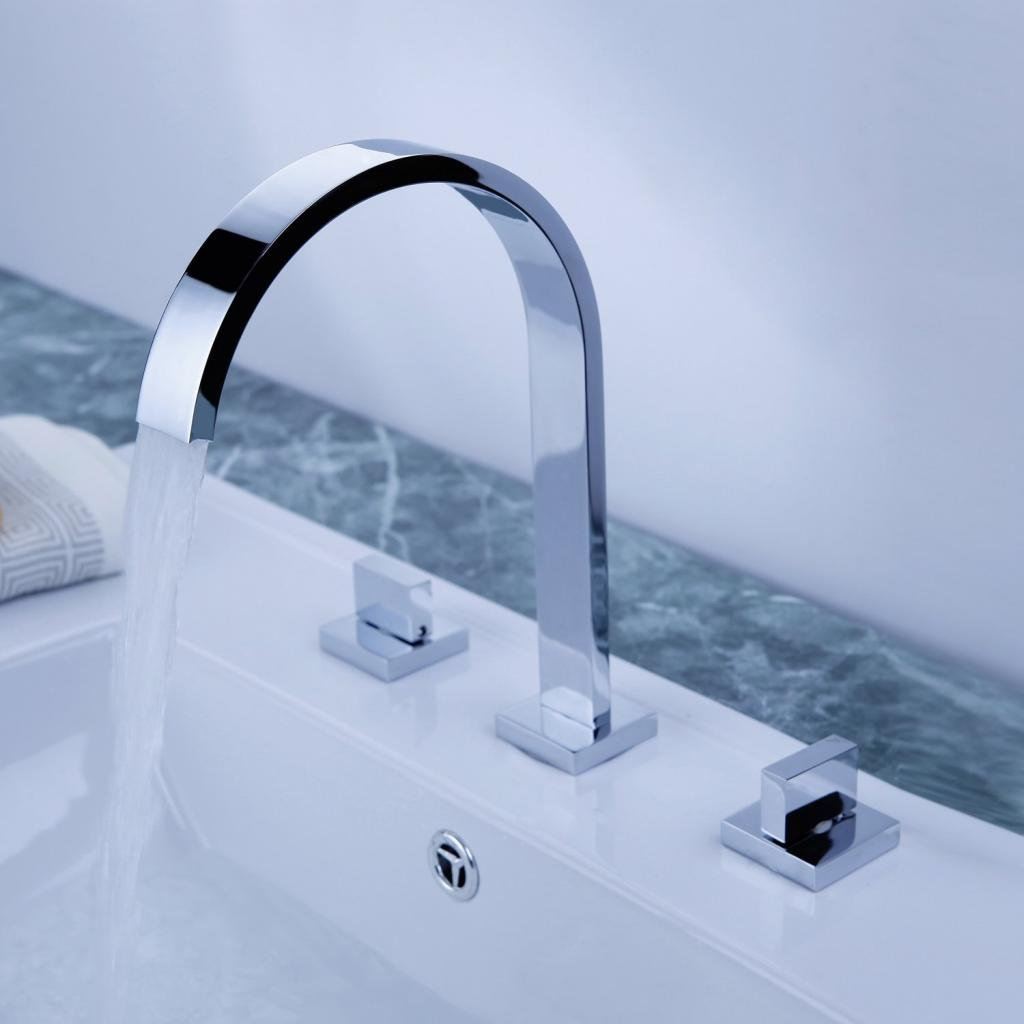 Aquafaucet Waterfall 8-16 Inch Chrome Finish 3 Holes 2 Handles Widespread Bathroom Sink Faucet by Aquafaucet (Image #8)