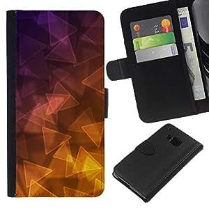 KLONGSHOP // Tirón de la caja Cartera de cuero con ranuras para tarjetas - Triángulo púrpura oro amarillo - HTC One M9 //